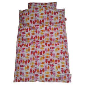 Junior sengetøj - Ugler - hvid med rød / pink