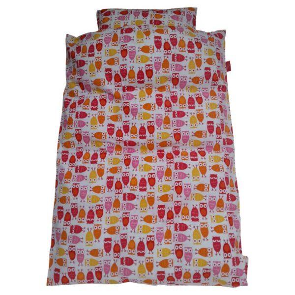 Junior sengetøj – Ugler – hvid med rød / pink