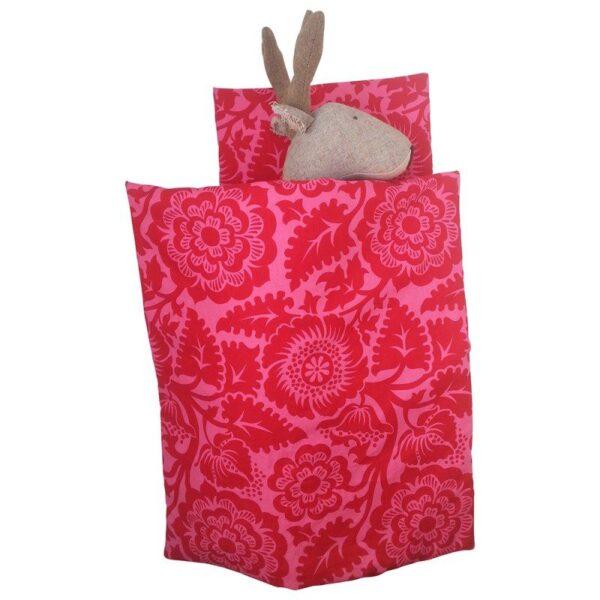 Dukke sengetøj - Rødt / pink blomster