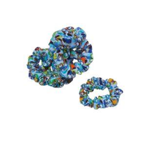 Scrunchie - hårelastik - Ugler - Blå